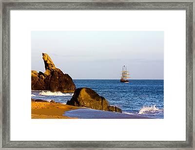 Pirate Ship In Cabo Framed Print
