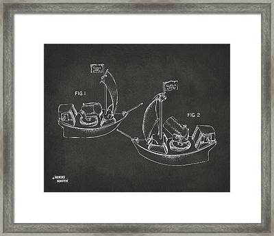 Pirate Ship Patent Artwork - Gray Framed Print