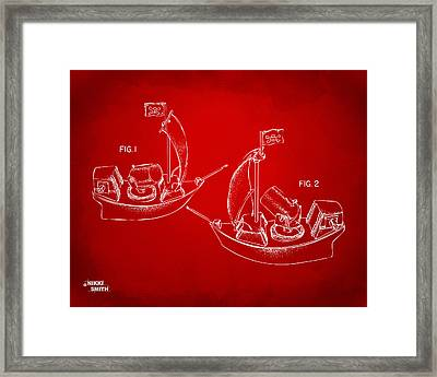 Pirate Ship Patent Artwork - Red Framed Print by Nikki Marie Smith