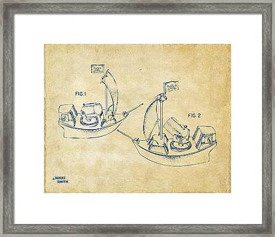 Pirate Ship Patent Artwork - Vintage Framed Print by Nikki Marie Smith