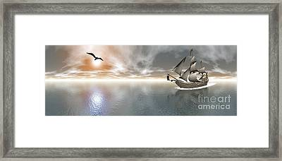 Pirate Ship Sailing The Ocean Framed Print by Elena Duvernay