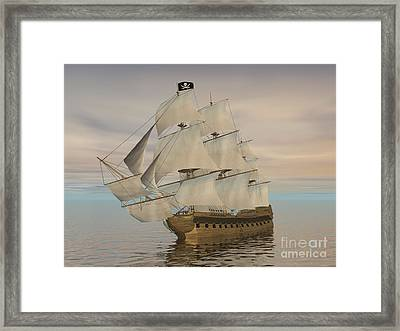 Pirate Ship With Black Jolly Roger Flag Framed Print
