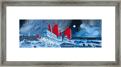 Pirate Ships In A Storm In The  South China Sea Framed Print by Glenn  Russell