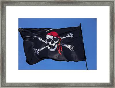 Pirate Skull Flag With Red Scarf Framed Print by Garry Gay