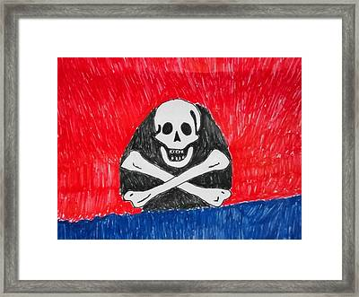 Pirate Symbol Mix Media On Paper Framed Print by William Sahir House