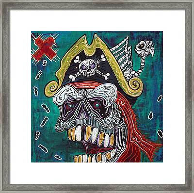 Pirate Treasure Map Framed Print by Laura Barbosa
