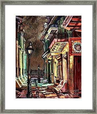 Pirate's Alley Evening Framed Print by Lisa Tygier Diamond