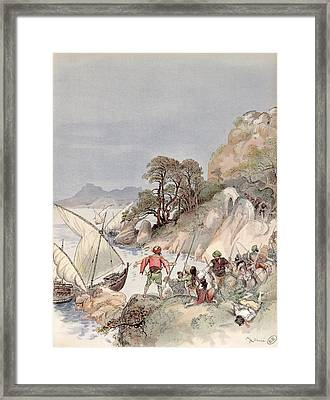 Pirates From The Barbary Coast Capturin Gslaves On The Mediterranean Coast Framed Print by Albert Robida