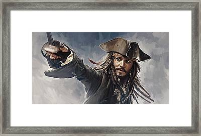 Pirates Of The Caribbean Johnny Depp Artwork 2 Framed Print by Sheraz A