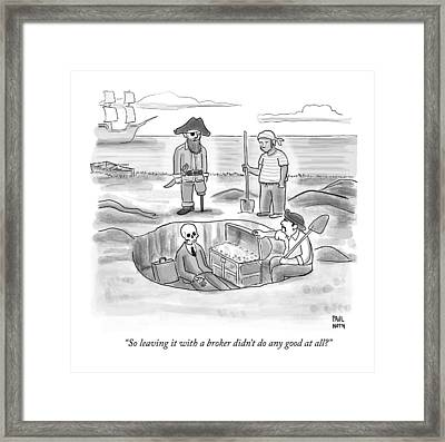 Pirates Stand Around A Dug Up Treasure Chest Framed Print