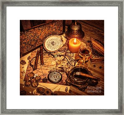 Pirates Treasure Background Framed Print by Anna Om