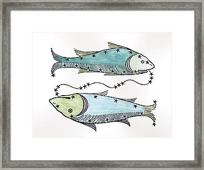 Pisces An Illustration Framed Print by Italian School