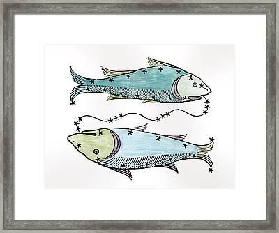 Pisces An Illustration Framed Print by Italian School