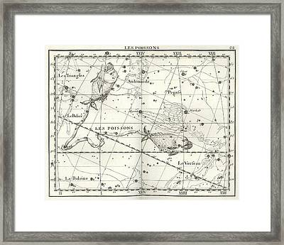 Pisces Constellation, Zodiac, 1729 Framed Print by U.S. Naval Observatory Library