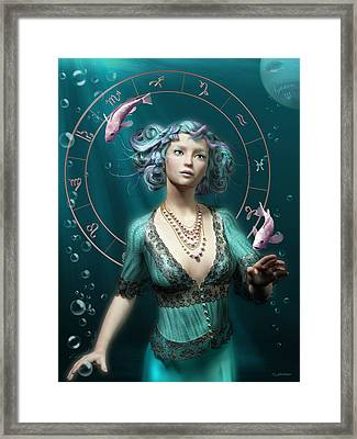 Pisces Zodiac Circle Framed Print by Britta Glodde