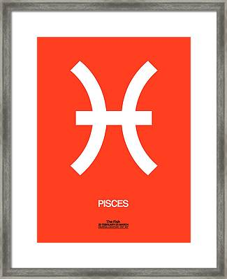 Pisces Zodiac Sign White Framed Print