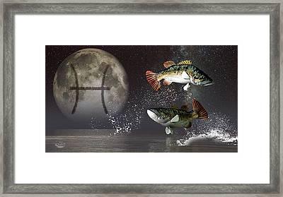 Pisces Zodiac Symbol Framed Print by Daniel Eskridge