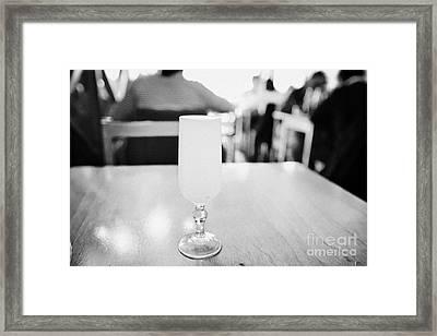 pisco sour cocktail inside la luna restaurant Punta Arenas Chile Framed Print by Joe Fox