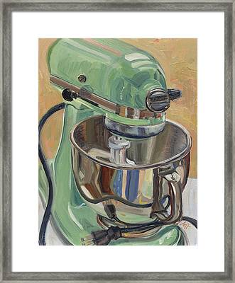Pistachio Retro Designed Chrome Flour Mixer Framed Print by Jennie Traill Schaeffer