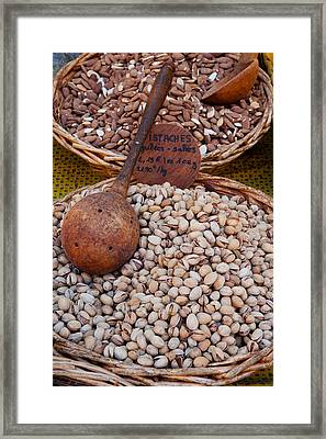 Pistachios For Sale At Weekly Market Framed Print