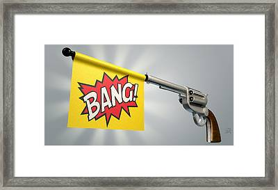 Pistol Bang Flag Framed Print by Allan Swart