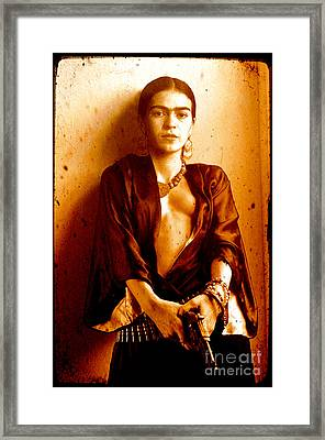 Pistol Packing Frida Framed Print by Pg Reproductions
