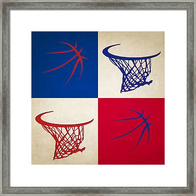 Pistons Ball And Hoop Framed Print by Joe Hamilton