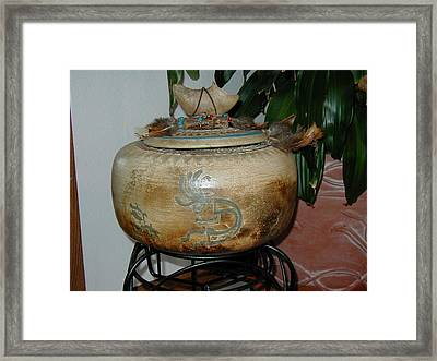 Pit Fired Seed Jar Framed Print by Beth Gramith