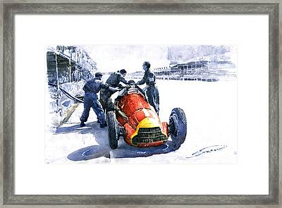 Pit Stop Alfa Romeo158 British Gp 1950 J M Fangio Framed Print by Yuriy  Shevchuk