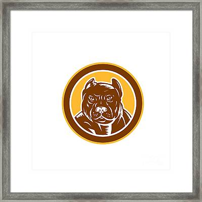 Pitbull Dog Mongrel Head Circle Woodcut Framed Print by Aloysius Patrimonio