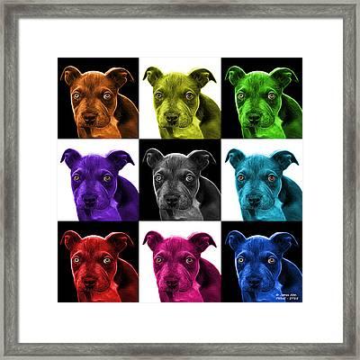 Pitbull Puppy Pop Art - 7085 V1 - M Framed Print by James Ahn