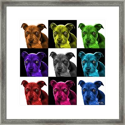 Pitbull Puppy Pop Art - 7085 V2 - M Framed Print by James Ahn