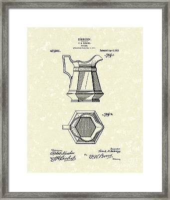 Pitcher 1915 Patent Art Framed Print