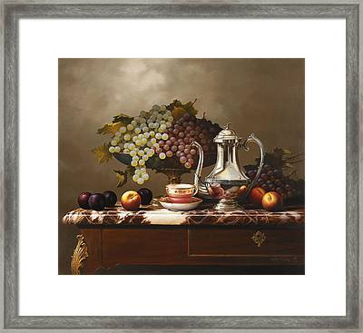 Pitcher And Fruit Framed Print