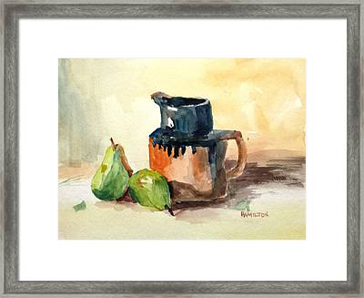 Pitcher And Pears Framed Print by Larry Hamilton