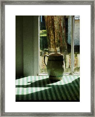 Pitcher By Window Framed Print by Susan Savad