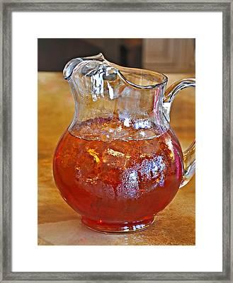 Pitcher Of Iced Tea Framed Print by Valerie Garner