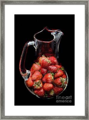 Pitcher Of Strawberries Framed Print