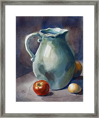 Pitcher With Tomato Framed Print by Pablo Rivera