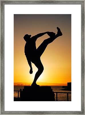 Pitching Form Framed Print by James Kirkikis