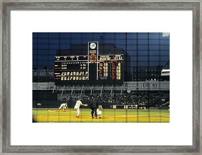 Pitching To A Hitter In Old Yankee Stadium Framed Print by Retro Images Archive