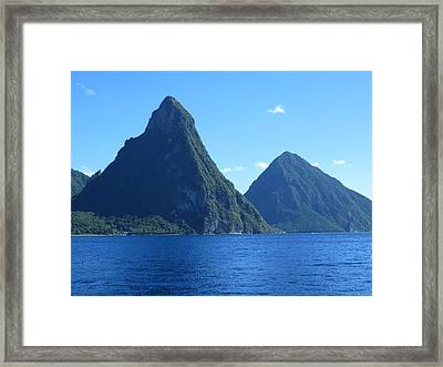 Pitons In St. Lucia Framed Print by Jean Marie Maggi