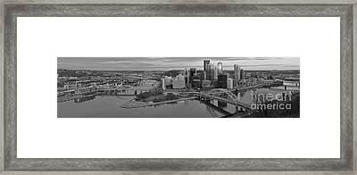 Pitsburgh Skyline Black And White Panorama Framed Print