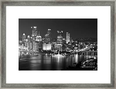 Pittsburgh - Black And White Framed Print