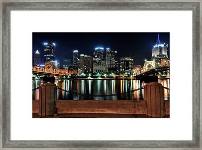 Pittsburgh At Night Framed Print by Frozen in Time Fine Art Photography