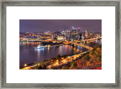 Pittsburgh At Night  Framed Print by Shane Mossman