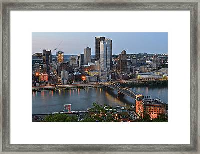 Pittsburgh Before Sunset Framed Print by Frozen in Time Fine Art Photography