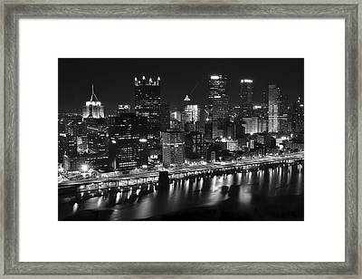 Pittsburgh Black And White Night Framed Print by Frozen in Time Fine Art Photography