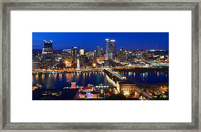 Pittsburgh Blue Hour Panorama Framed Print by Frozen in Time Fine Art Photography