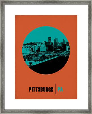 Pittsburgh Circle Poster 1 Framed Print by Naxart Studio
